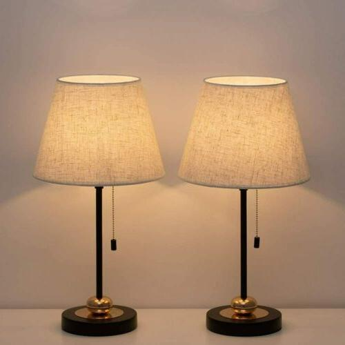 set of 2 nightstand light fabric beside