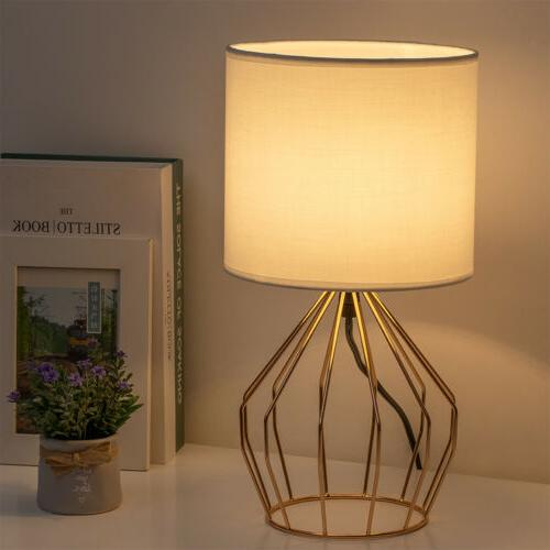 Set of Lamps Gold Metal Base Linen Fabric Lampshade