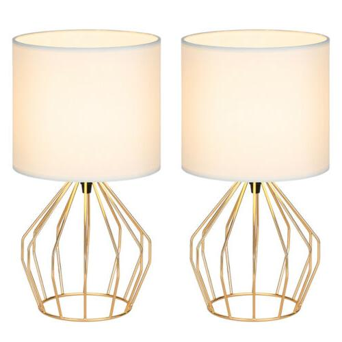Set Lamps Gold Fabric Lampshade