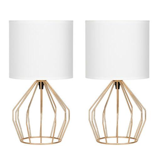 Set of Table Lamps Gold Metal Fabric