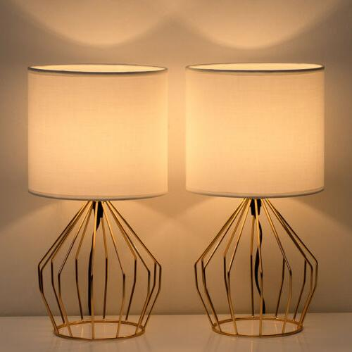 set of 2 table lamps with hollowed