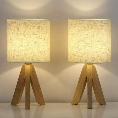 Set of 2-Small Table Lamps - Wooden Tripod Nightstand Lamps