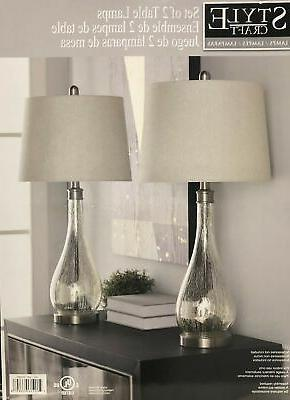 set of two table lamps mercury glass