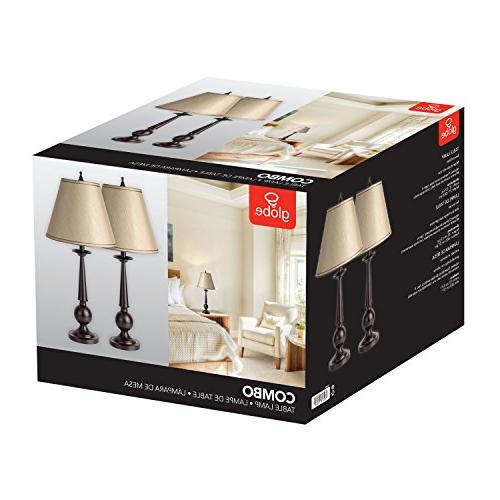 """Globe 12398 Set of Two Lamps, Beige Shades, 13"""" x"""