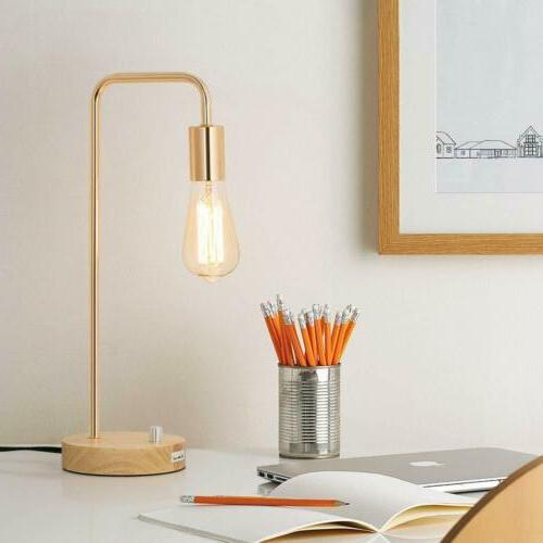 Simple Wooden Table Lamp Industrial Bedside Study