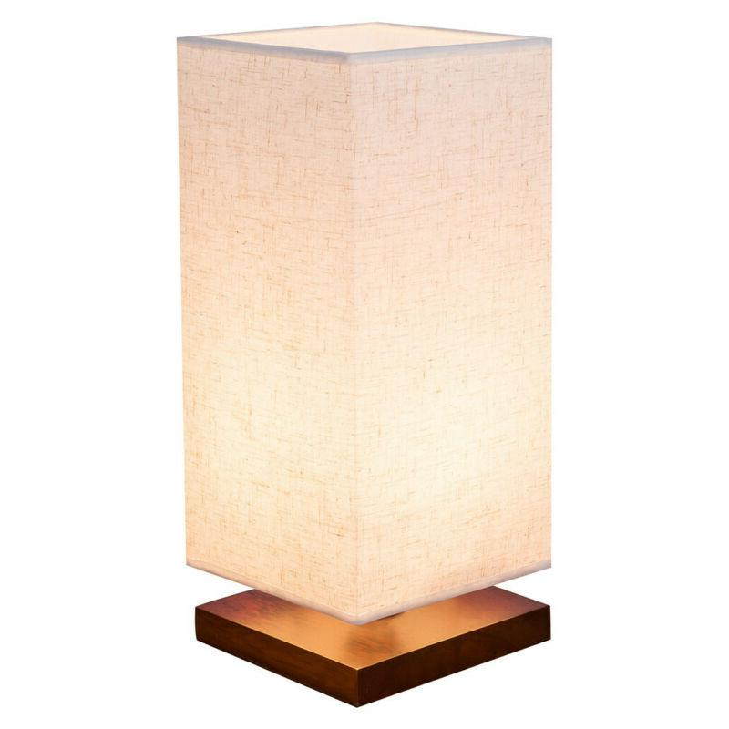 Minimalist Bedside Table Lamp Fabric Shade Wood Desk Light f