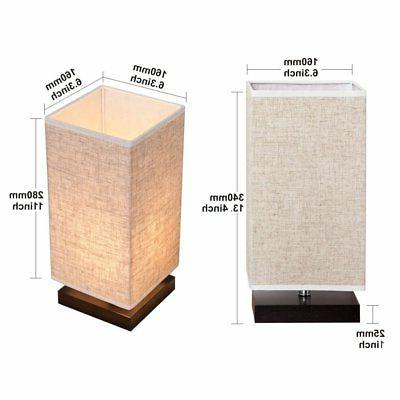 ZEEFO Table Bedside Fabric Shade Solid Wood