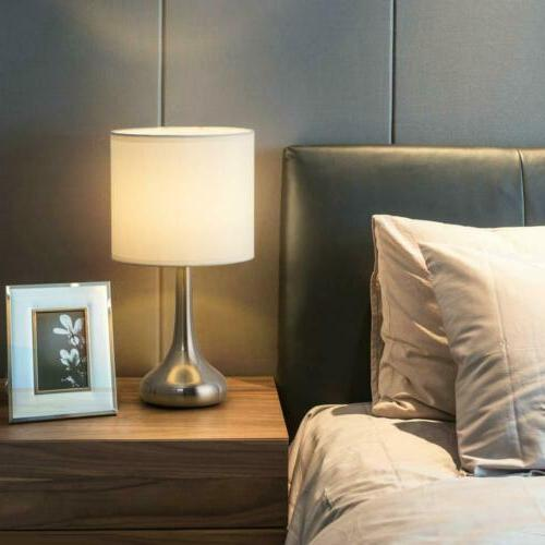 Small Table Desk Nightstand Lamp Metal Base Living