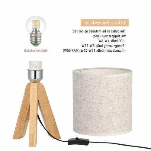 Small Bedside Lamp Wooden with Linen
