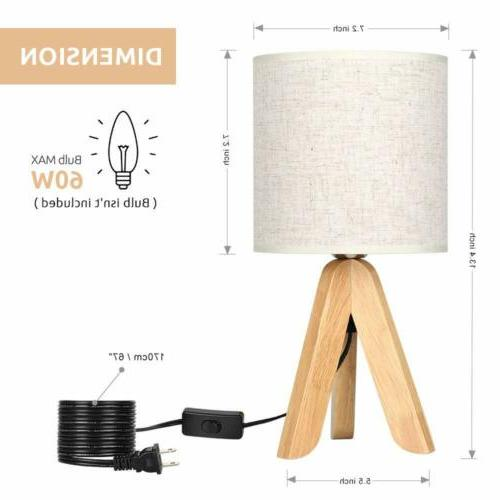 Small Bedside Table Lamp Wooden Tripod with Linen Shade