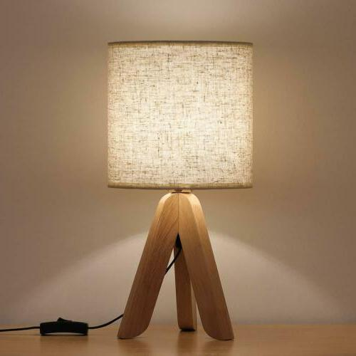 small bedside table lamp wooden tripod nightstand