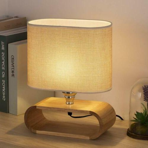 HAITRAL Bedside Table Lamp Wooden Nightstand Desk Lamp Bedro
