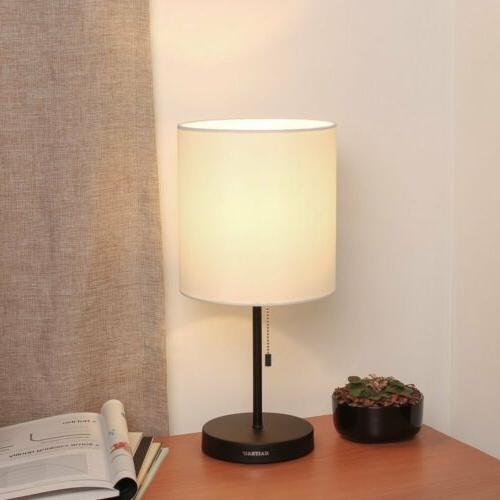 HAITRAL Table base Fabric Lamp Night for Bedroom,Dorm