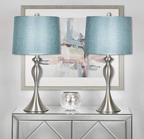 "Grandview with Turquoise Shade, Set of 2 Linen and Nickel 26.5"" –"