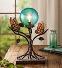 "Stained Glass Butterflies and Orb Table Lamp, 9"" L x 6.25"" W"