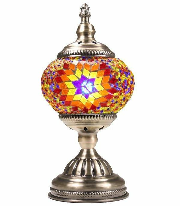 stained glass mosaic bead electric table lamp