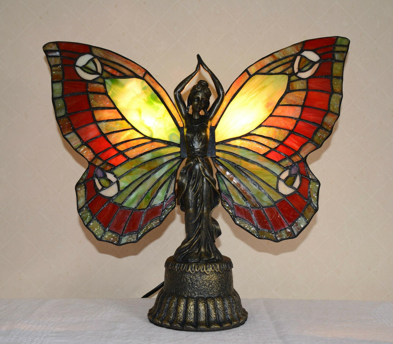 Stained Glass Tiffany Style Butterfly Deco Girl Night Light