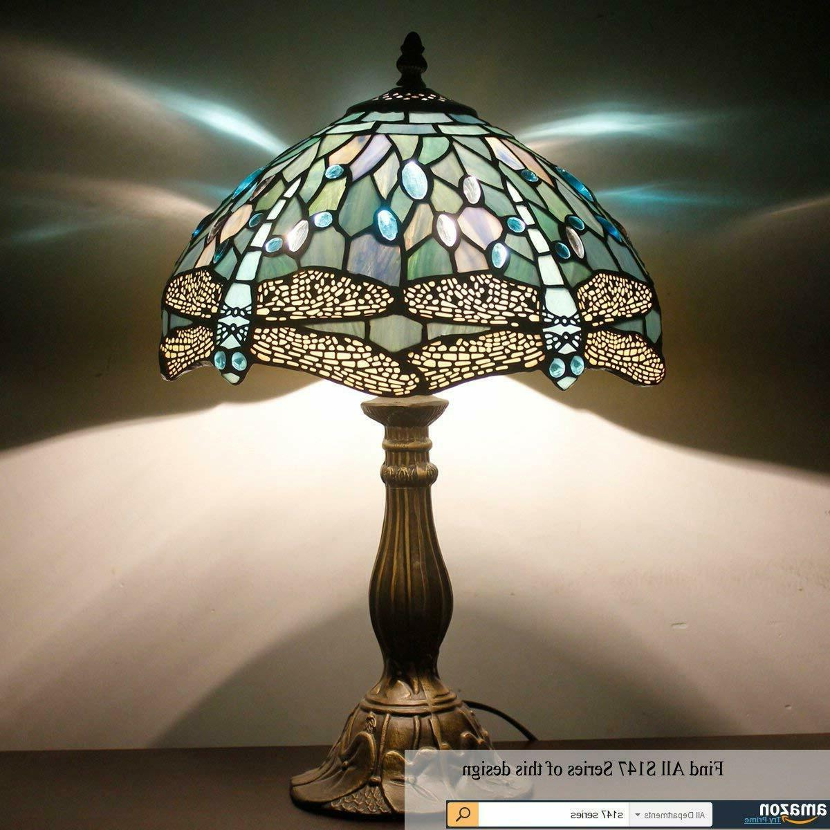 Tiffany Lamp Blue Stained Bead Lamps