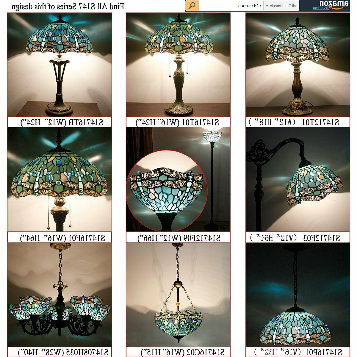 Tiffany Stained Glass and Bead Dragonfly Table Lamps