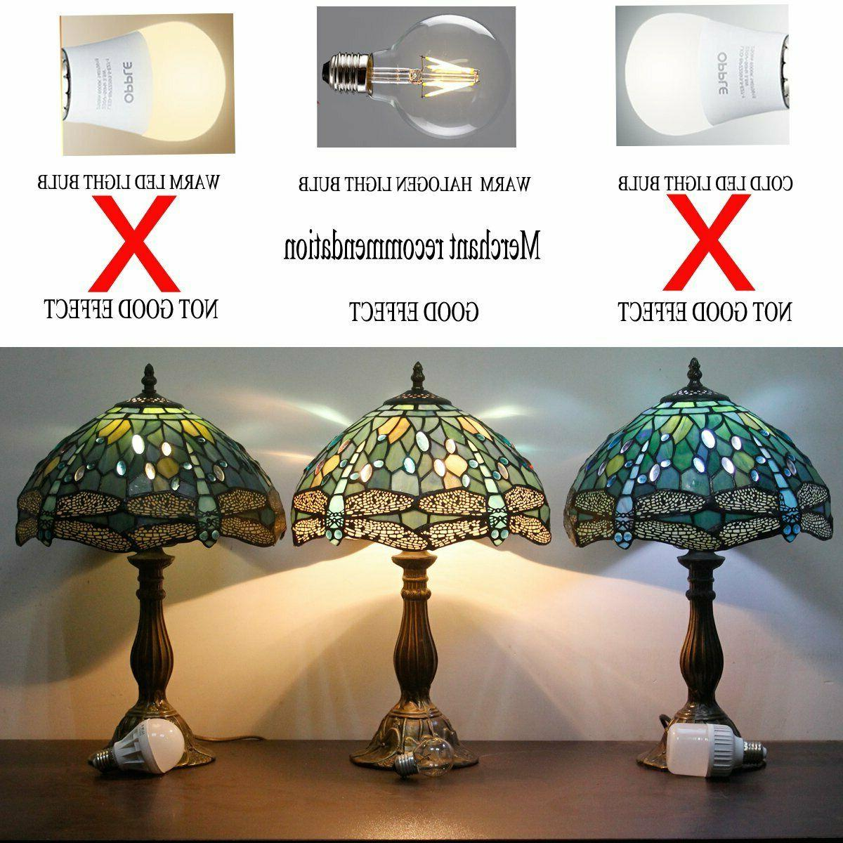 Tiffany Lamp Stained Glass Crystal Bead Dragonfly Table Lamps