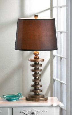 "STRATUM WOOD DISC TABLE LAMP 28 1/2"" TALL DECOR NEW~100162"