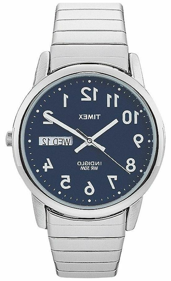 Timex T20031, Easy Reader, Men's, Silvertone Expansion, Indi