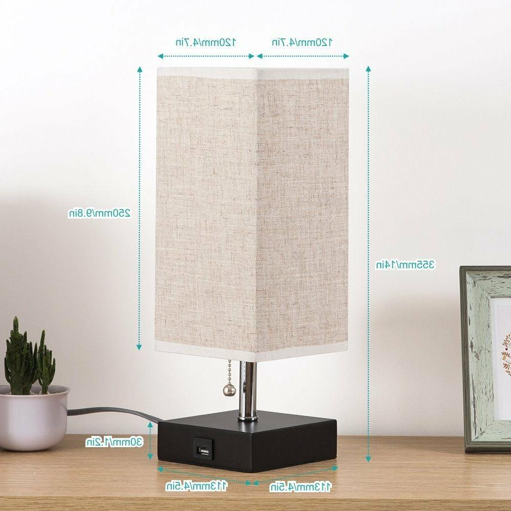 Table Lamp Charging Fabric Nightstand for Home Modern Design