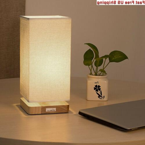 HAITRAL Table Bedside Desk with Fabric Wood Light for...