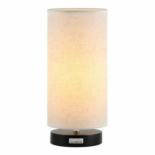 Minimalist Beside Nightstand Table Lamp with Fabric Shade Mo