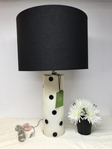 Kate Spade Table Lamp Black White Polka Dot Cylinder With Bl