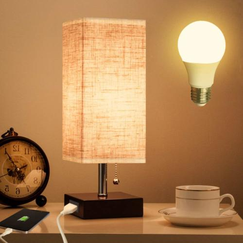 Lifeholder Table Lamp, Nightstand Lamp with USB Charging Por