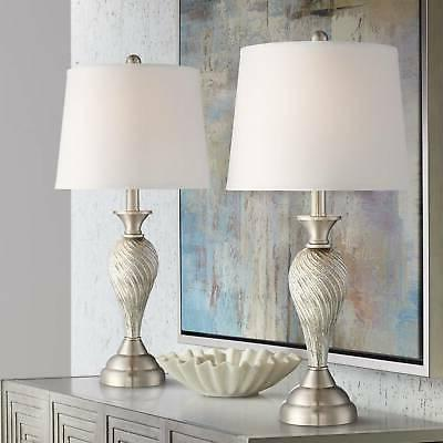 Table Lamp Set of 2 Mercury Glass Twist White Empire for Liv
