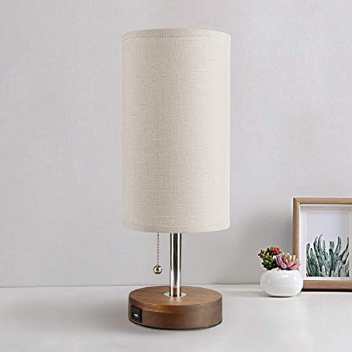 USB Lamp, Bedside Desk Seealle Modern Nightstand Lamp With Charging Round Pull Chain,Ambient Living