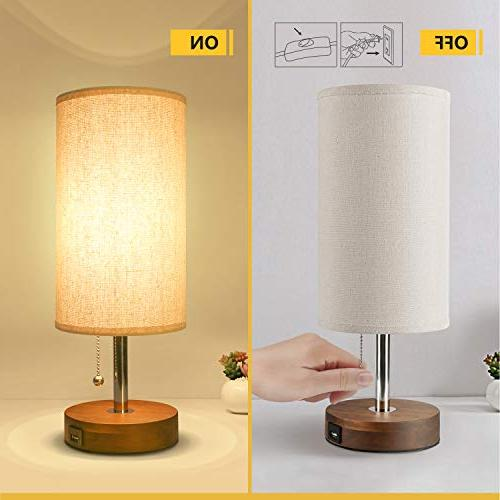 USB Table Desk Lamp, Nightstand Charging Round Lampshde,Convenient Pull Chain,Ambient for Living