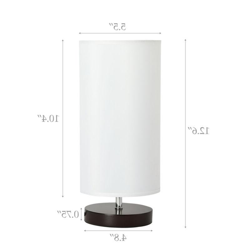 Table Lamp Solid Wood Base Minimalist Bedside Fabric White