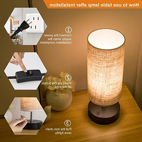 Lifeholder Wooden Base Beside Desk Lamp,Nightstand with USB Charging Port, Beside USB Table Lamp for Living or Office