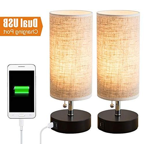 Lifeholder Wooden Base Lamp,Nightstand Lamp with USB Charging Beside USB Lamp for or