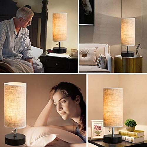 Lifeholder Table lamp, Wooden Beside Lamp,Nightstand with Dual USB USB or Office