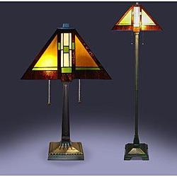 Tiffany Style Aztec Mission Lamps