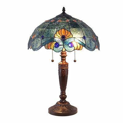Tiffany Style Blue Vintage Table Lamp Down Light Stained Gla