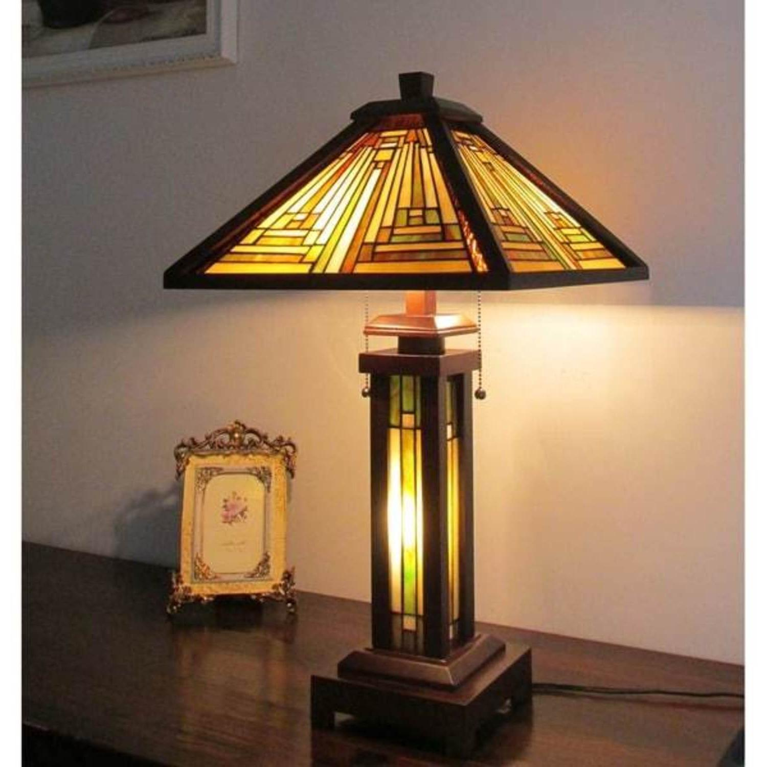 Tiffany Mission Style Table Lamp Stained Beige Glass Shade L