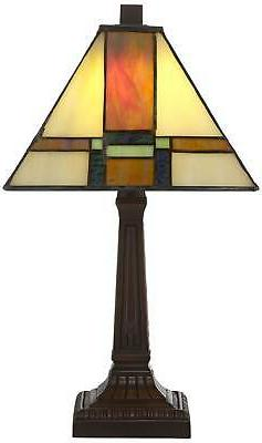 """Tiffany Lamp 14 1/4"""" LED Stained Glass Office"""