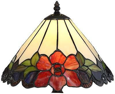 """Tiffany Style Table Lamp 1/2"""" Bronze Floral"""