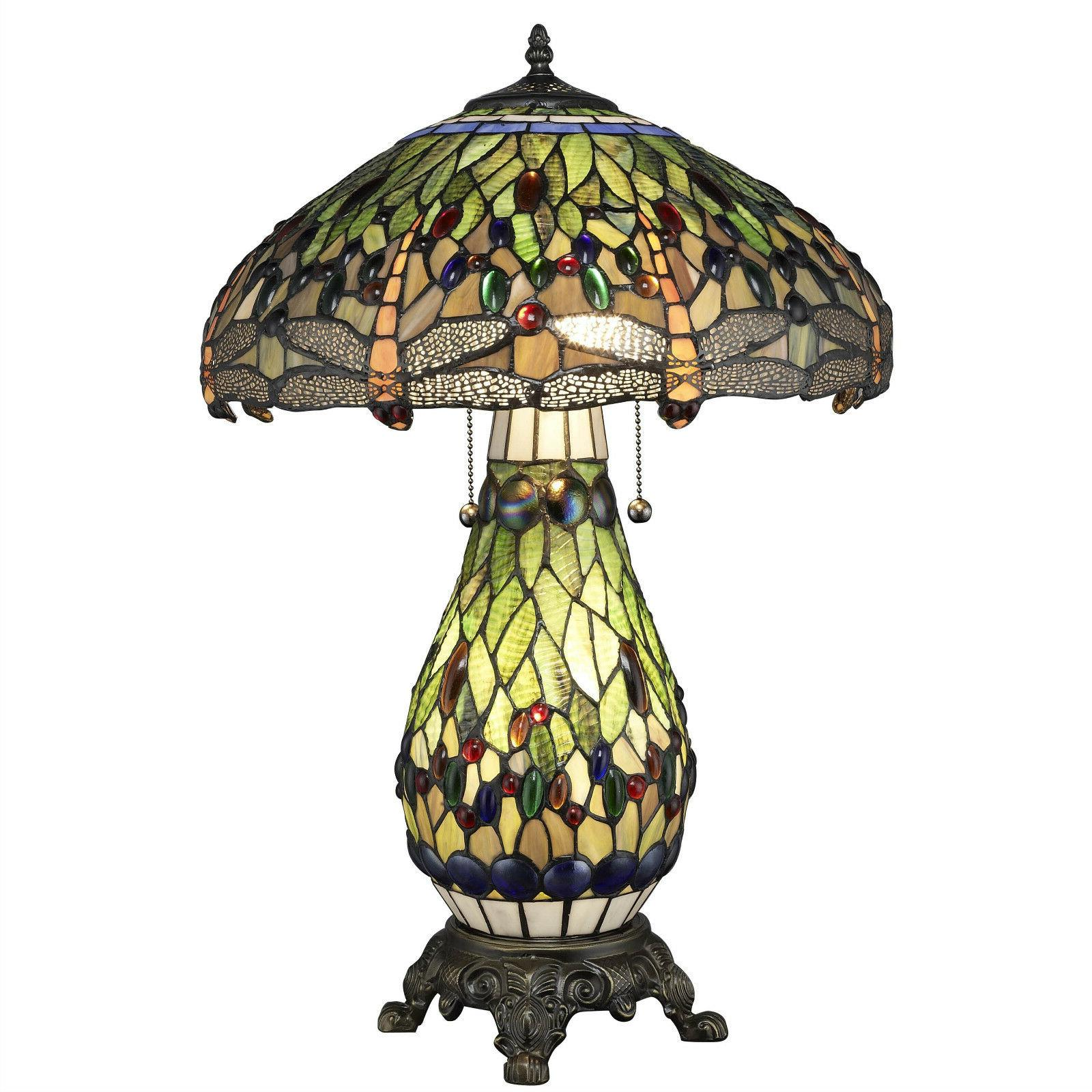 tiffany style dragonfly green table lamp w