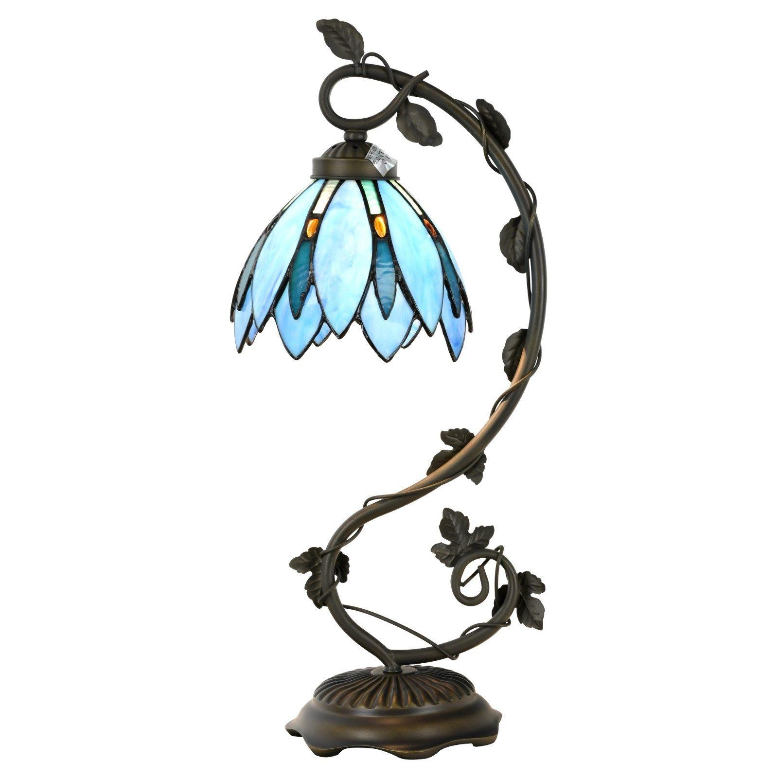 Tiffany Style Lamp Blue Floral Leaf Lotus Shape Arched Stain