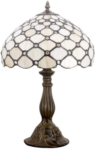 Tiffany Style Lamp Cream Stained Glass and Crystal Pearl Bea