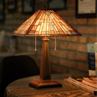 tiffany style mission 2 light table lamp