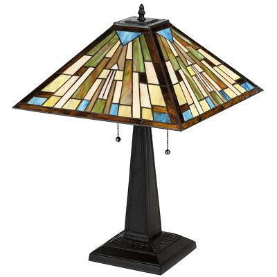 """Tiffany 2-Light Table 16"""" Stained Glass"""