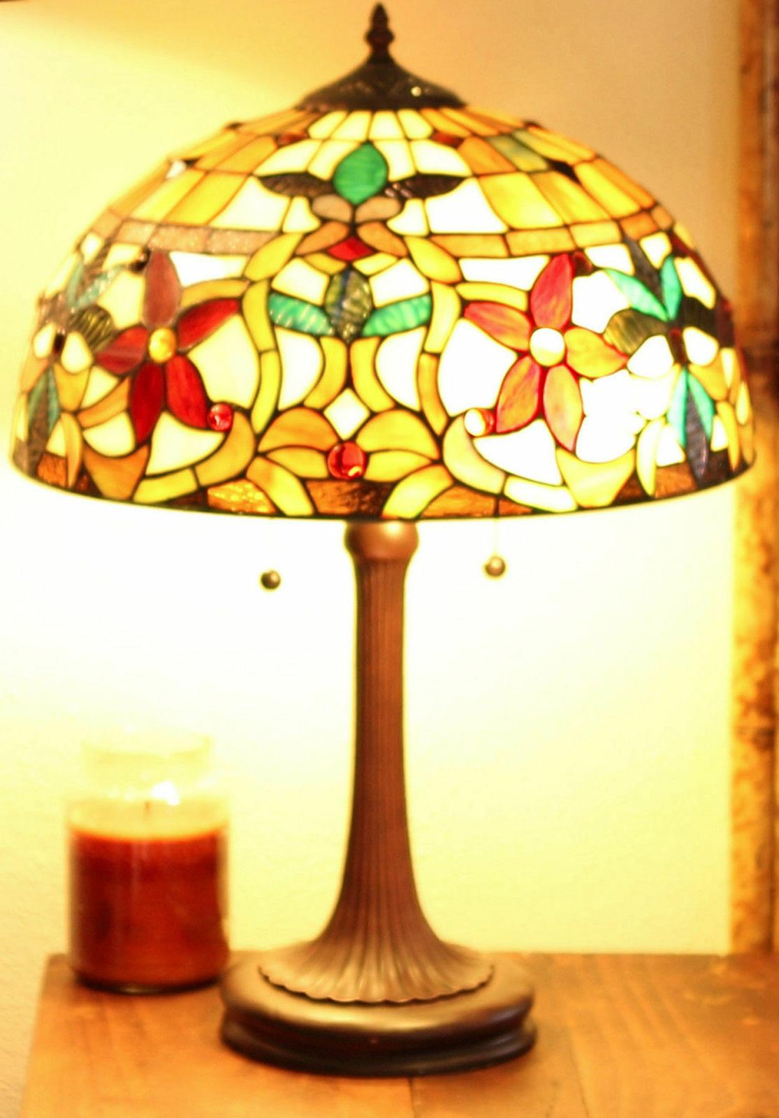 "Tiffany Style Stained Glass Floral Lamp 18"" Shade"