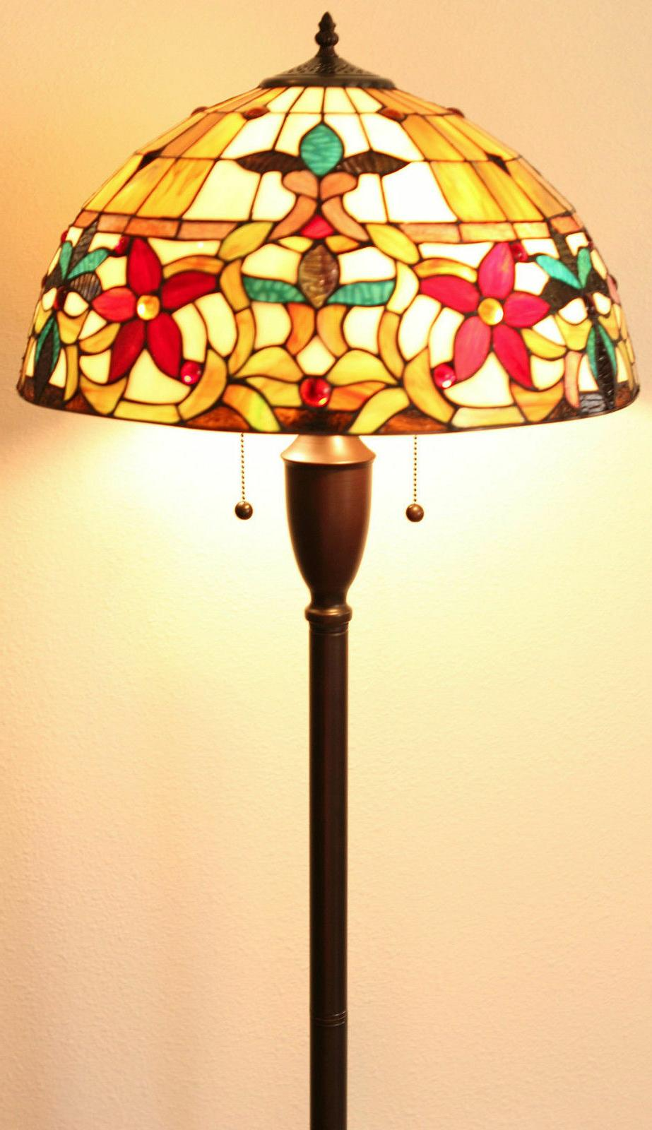 Tiffany Style Stained Floral Lamp Set 2 18""